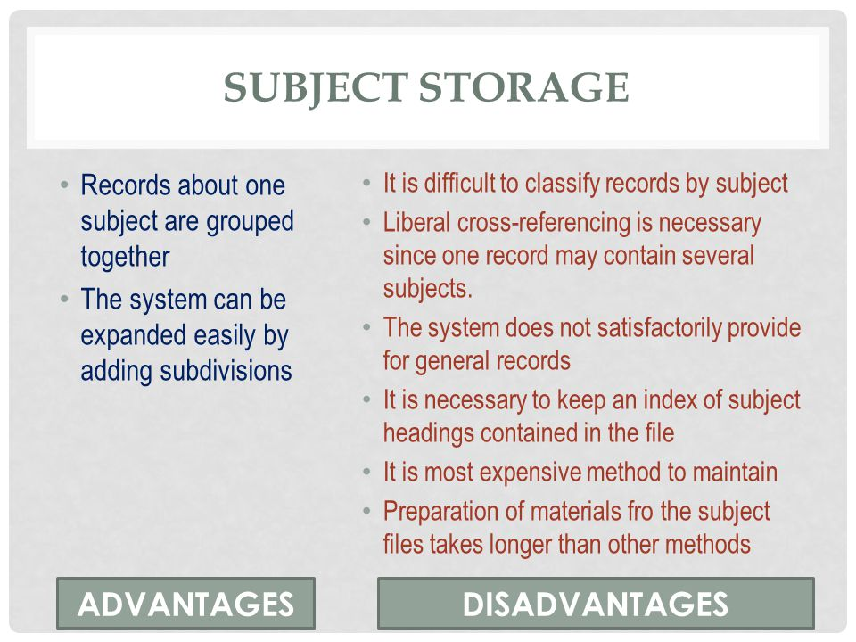 subject storage ADVANTAGES DISADVANTAGES