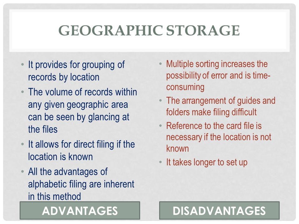 Geographic storage ADVANTAGES DISADVANTAGES