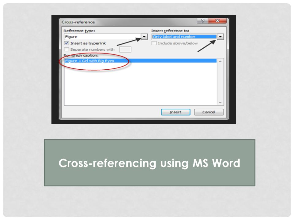Cross-referencing using MS Word