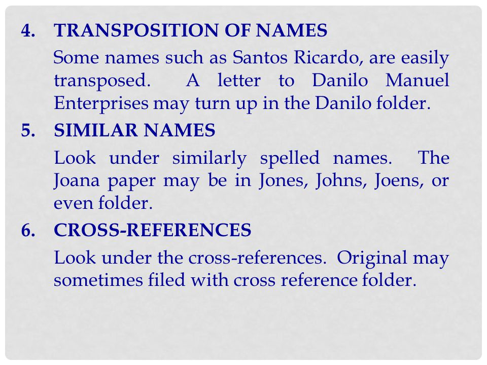 4. TRANSPOSITION OF NAMES