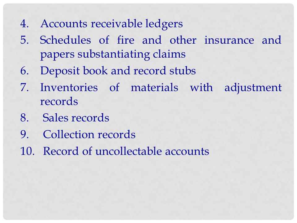 4. Accounts receivable ledgers