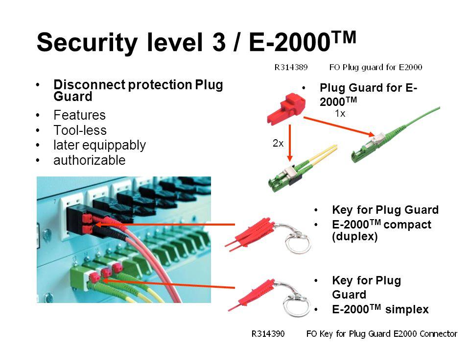 Security level 3 / E-2000TM Disconnect protection Plug Guard Features