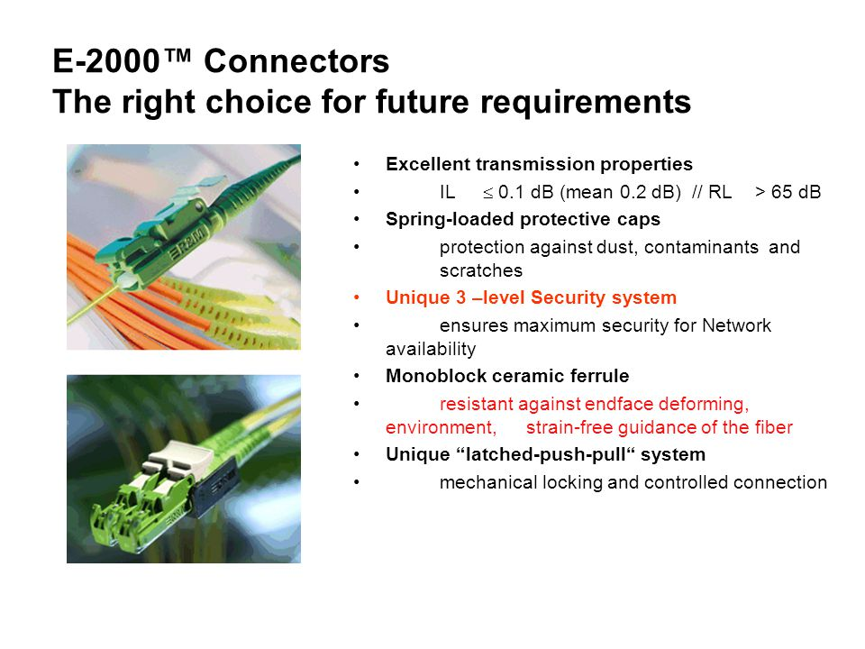 E-2000™ Connectors The right choice for future requirements