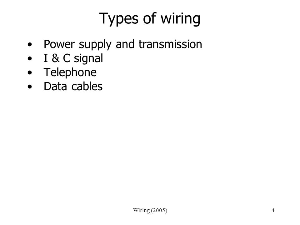 Types of wiring Power supply and transmission I & C signal Telephone