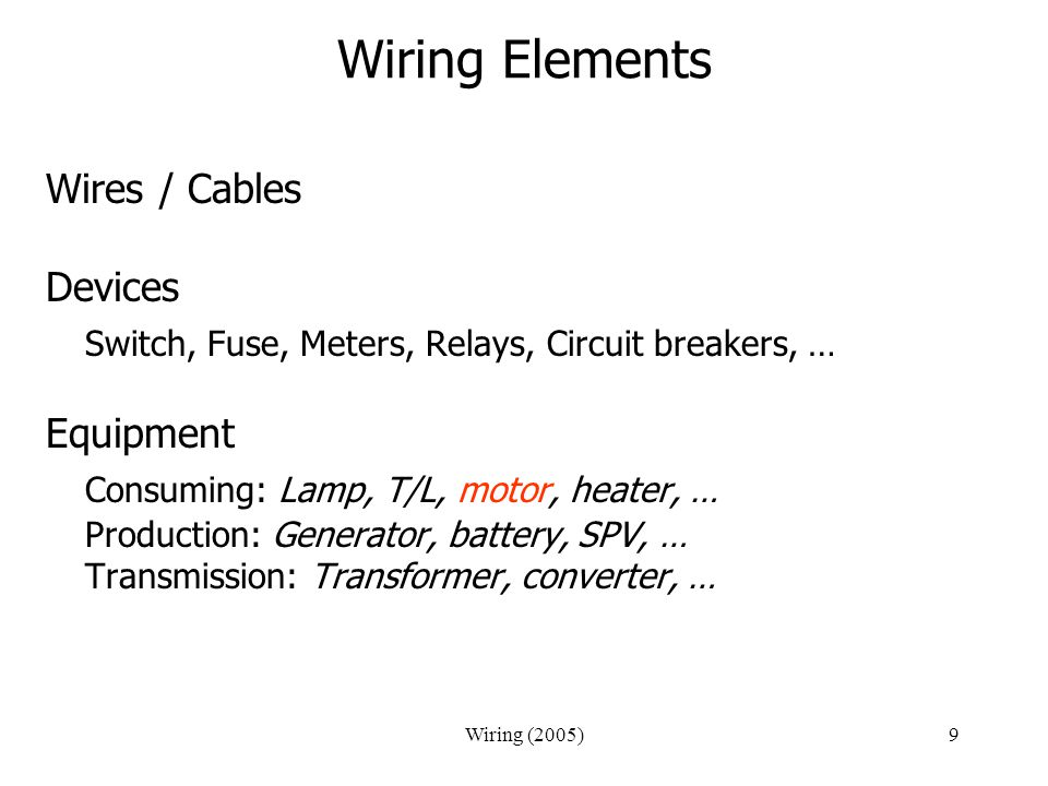 Wiring Elements Switch, Fuse, Meters, Relays, Circuit breakers, …