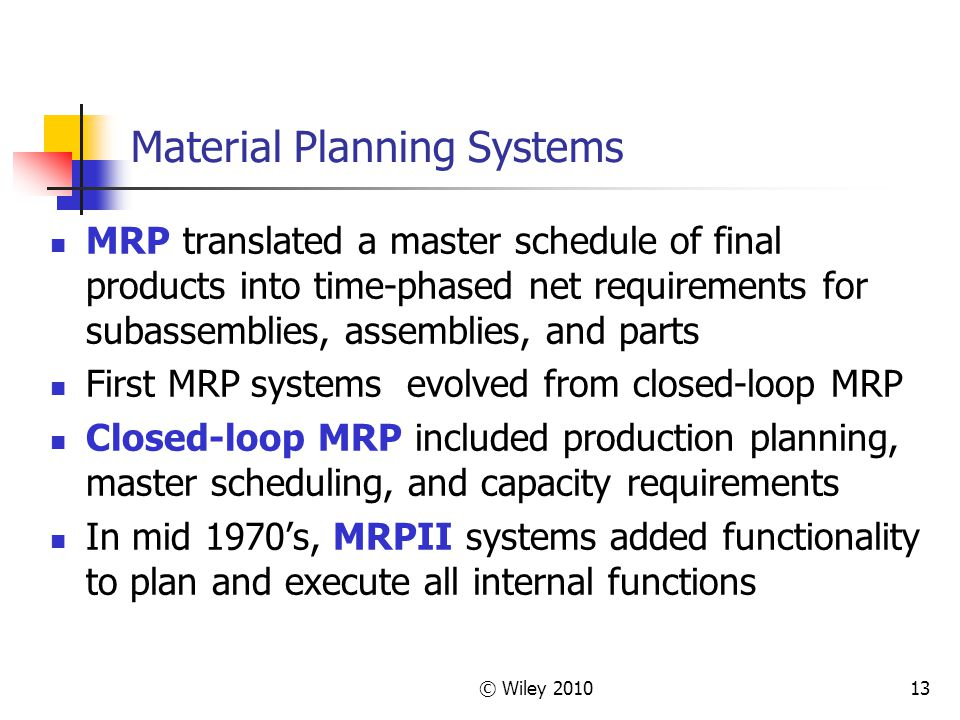 Material Planning Systems