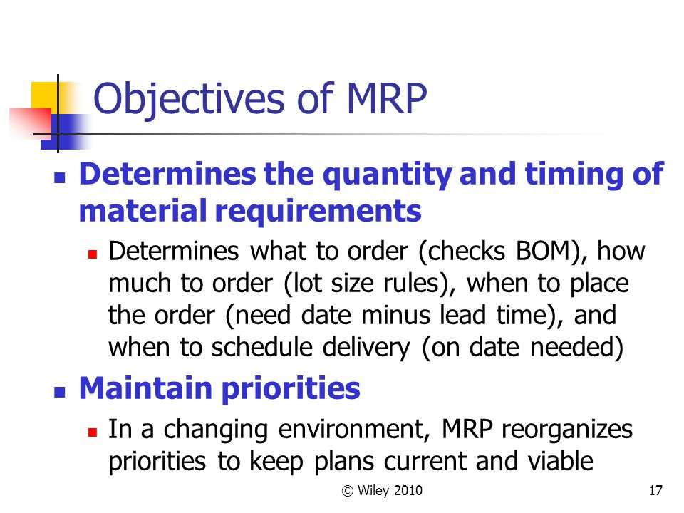 Objectives of MRP Determines the quantity and timing of material requirements.