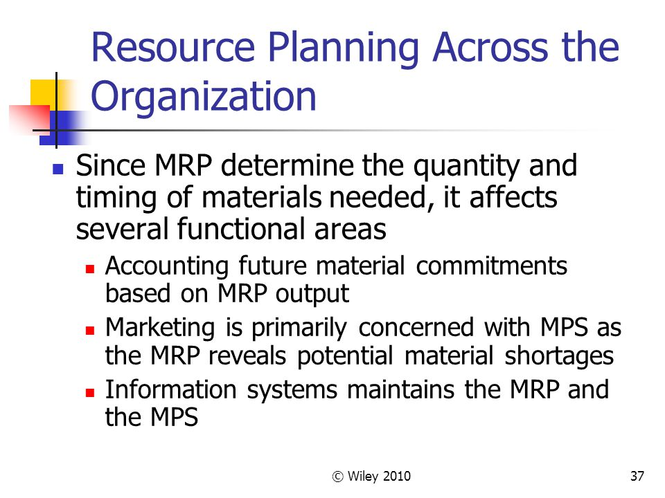 Resource Planning Across the Organization