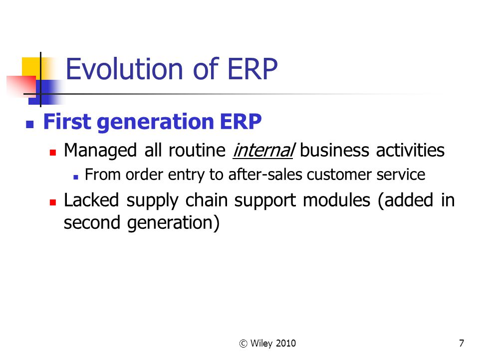 Evolution of ERP First generation ERP