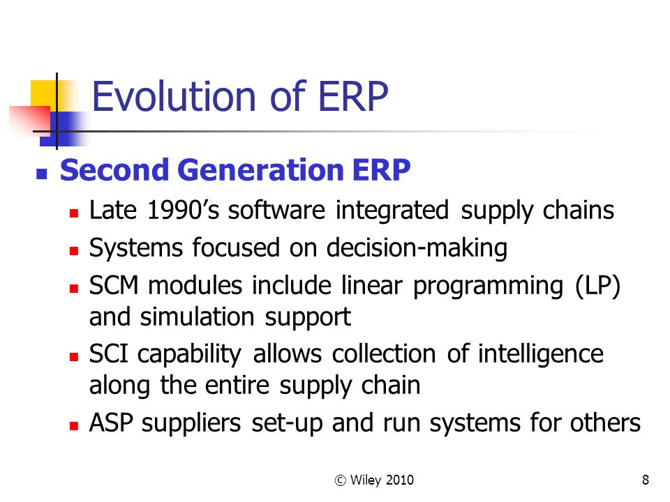 Evolution of ERP Second Generation ERP