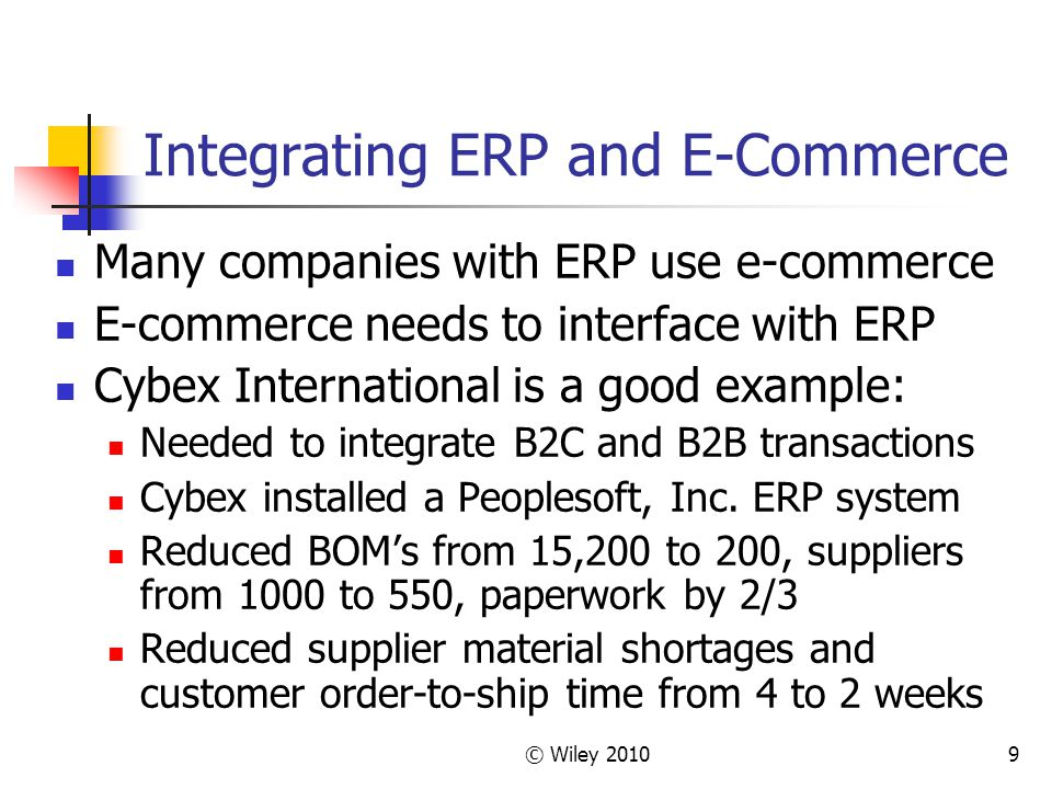 Integrating ERP and E-Commerce