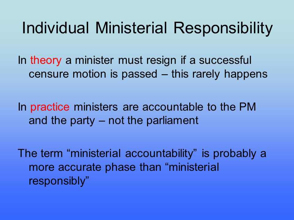 Individual Ministerial Responsibility