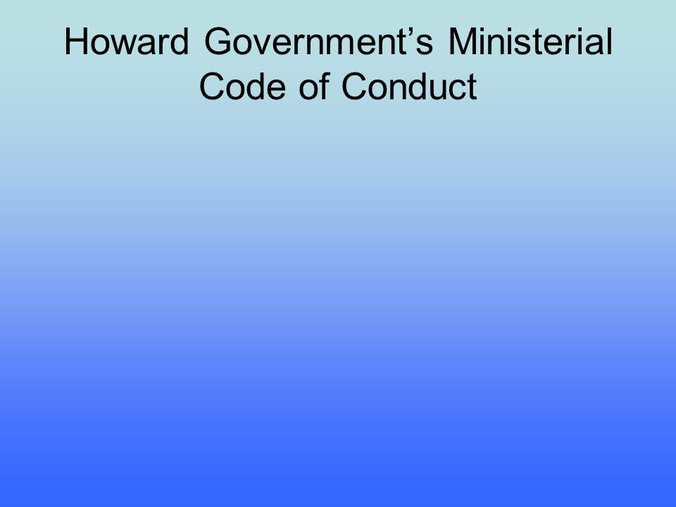 Howard Government's Ministerial Code of Conduct