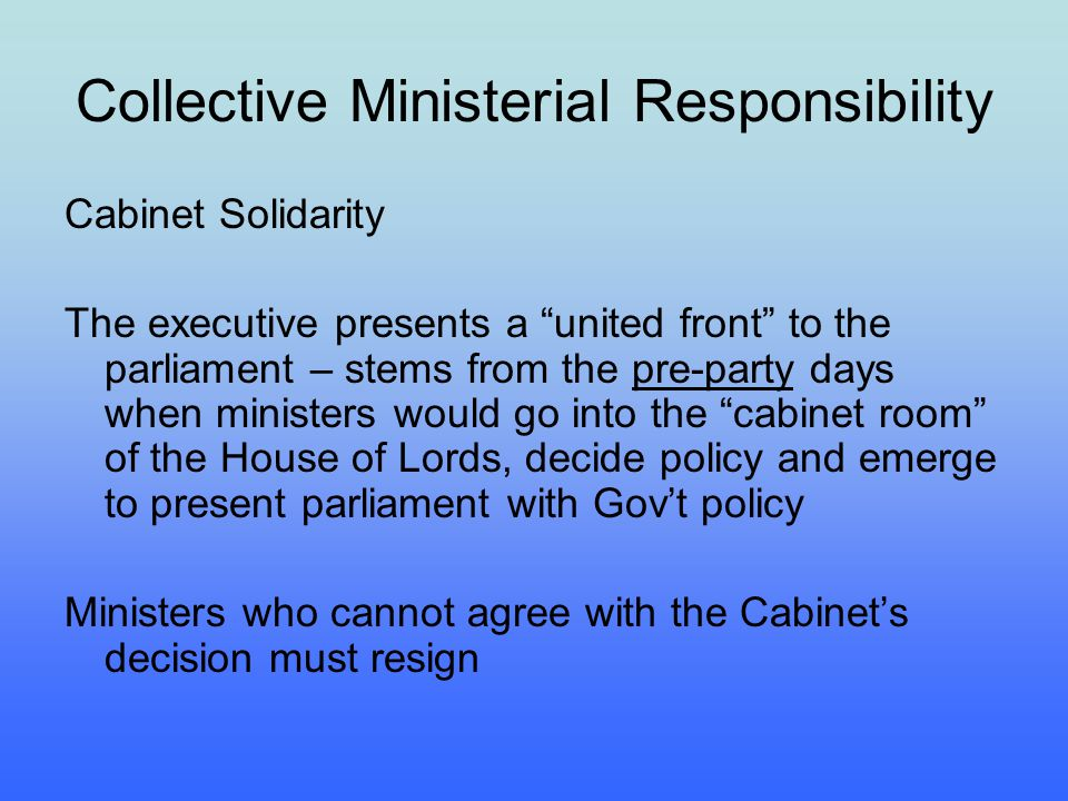Collective Ministerial Responsibility