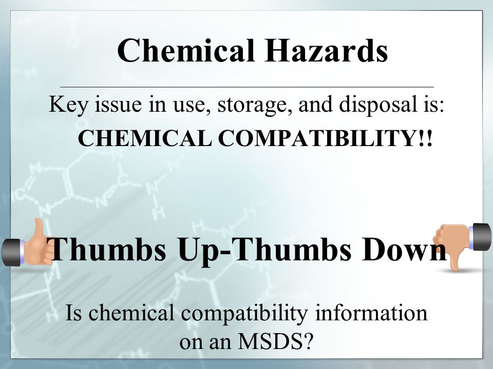 Chemical Hazards Thumbs Up-Thumbs Down