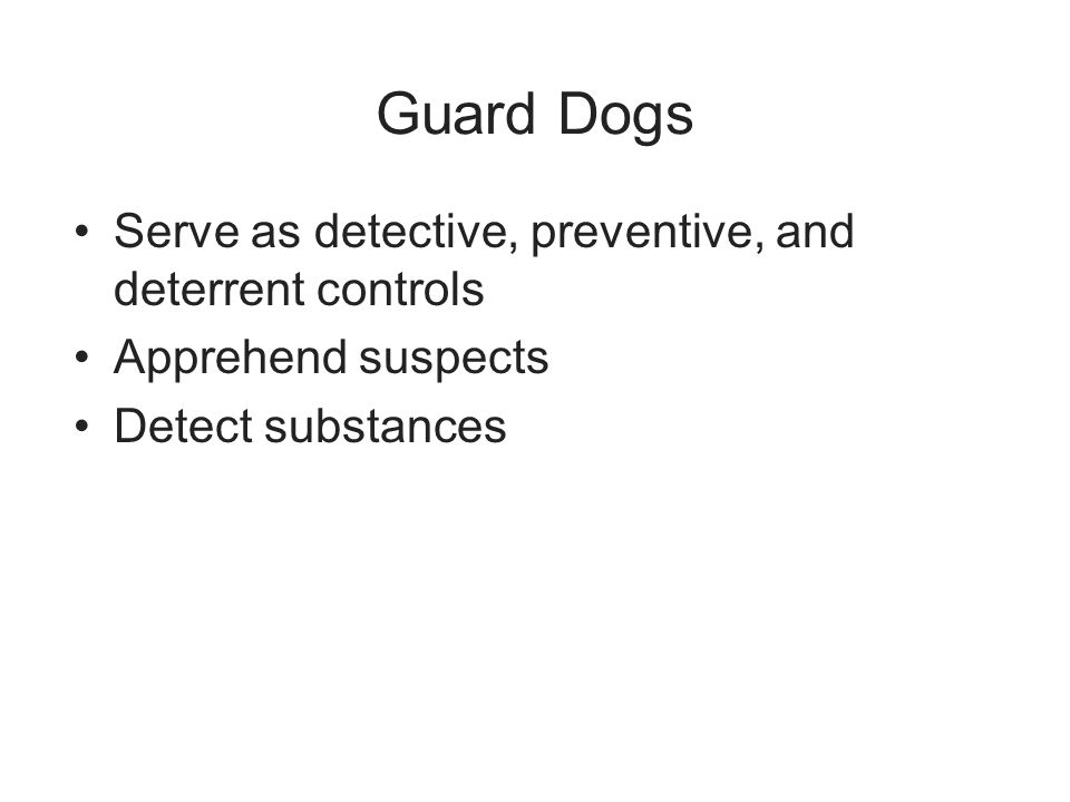 Guard Dogs Serve as detective, preventive, and deterrent controls