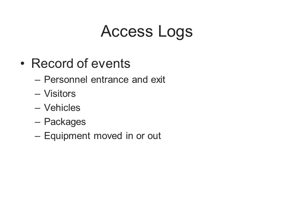 Access Logs Record of events Personnel entrance and exit Visitors