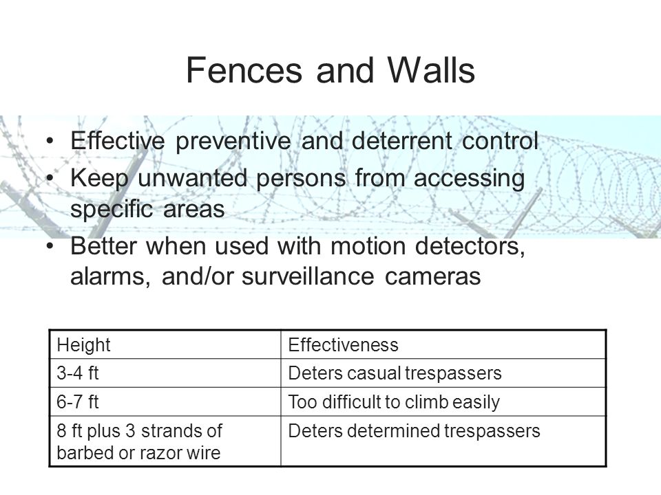 Fences and Walls Effective preventive and deterrent control