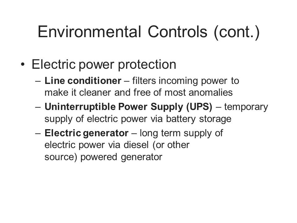 Environmental Controls (cont.)