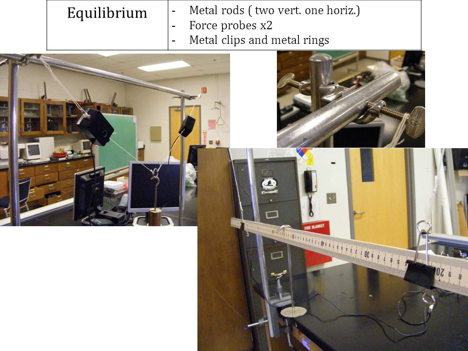 Equilibrium Metal rods ( two vert. one horiz.) Force probes x2