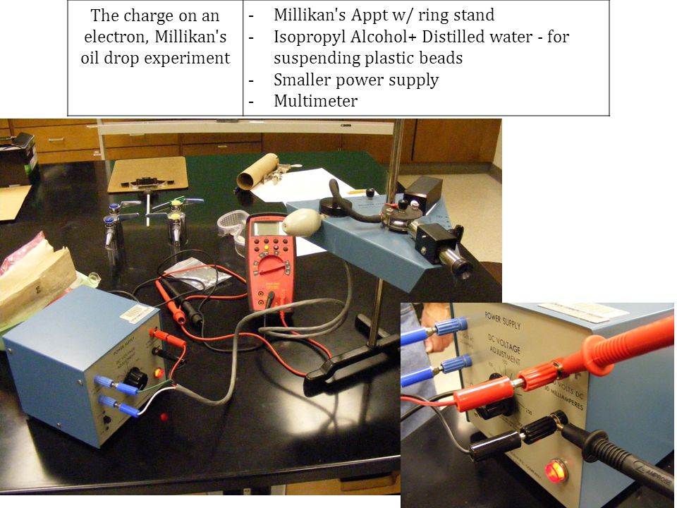 The charge on an electron, Millikan s oil drop experiment