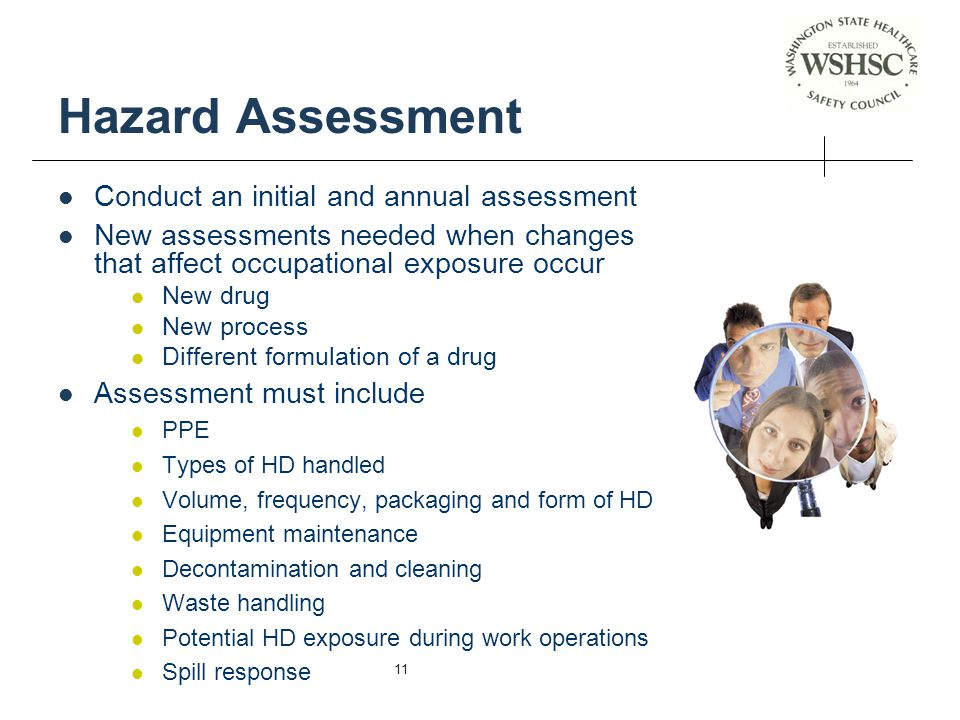 Hazard Assessment Conduct an initial and annual assessment