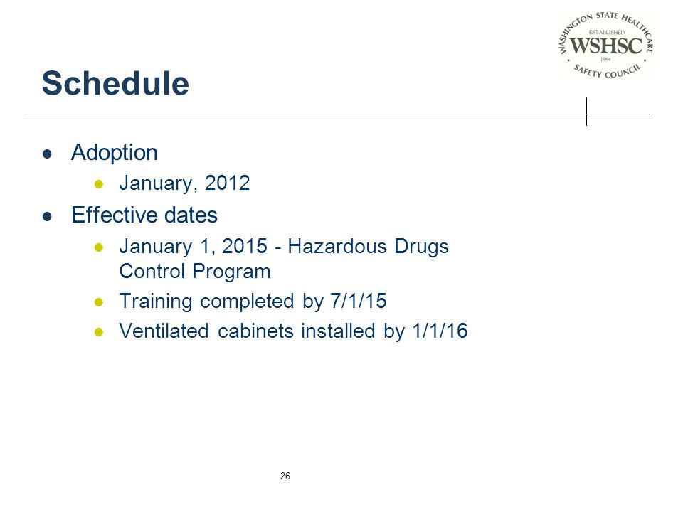 Schedule Adoption Effective dates January, 2012