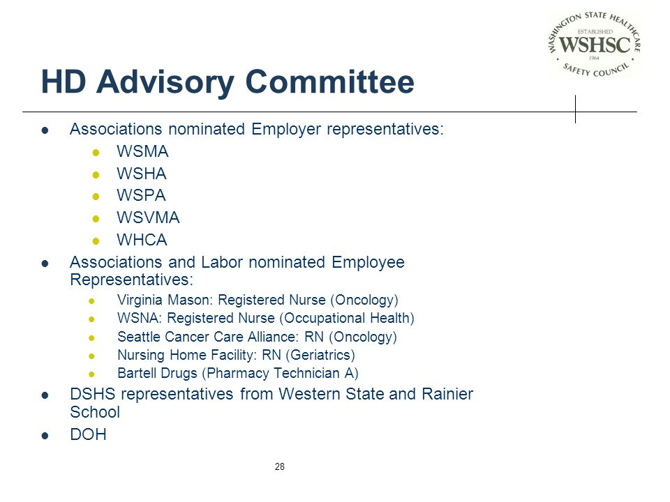HD Advisory Committee Associations nominated Employer representatives:
