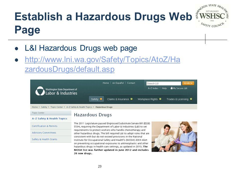 Establish a Hazardous Drugs Web Page
