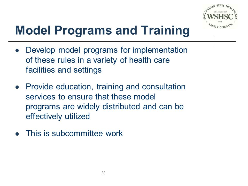 Model Programs and Training