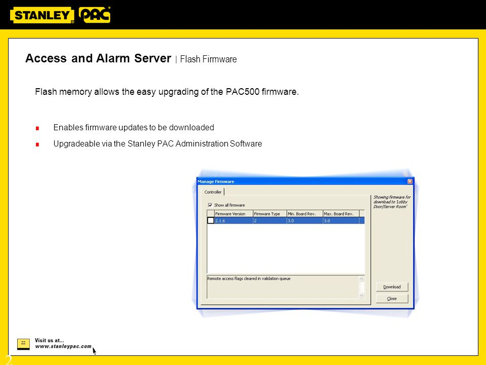 Access and Alarm Server | Flash Firmware