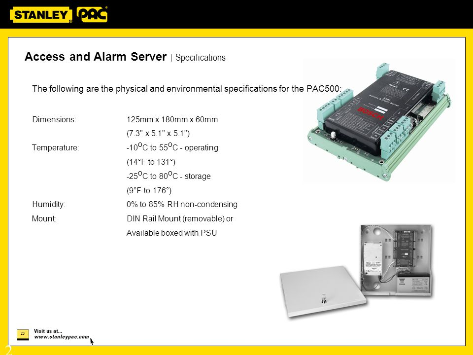 Access and Alarm Server | Specifications