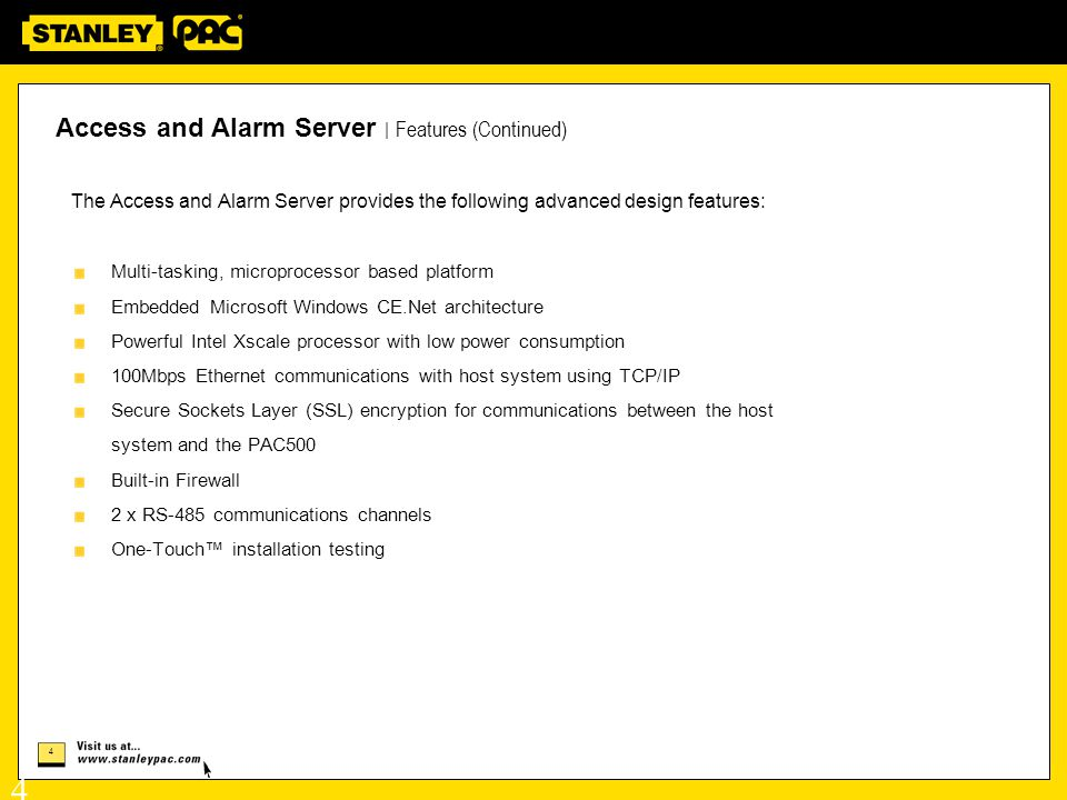 Access and Alarm Server | Features (Continued)