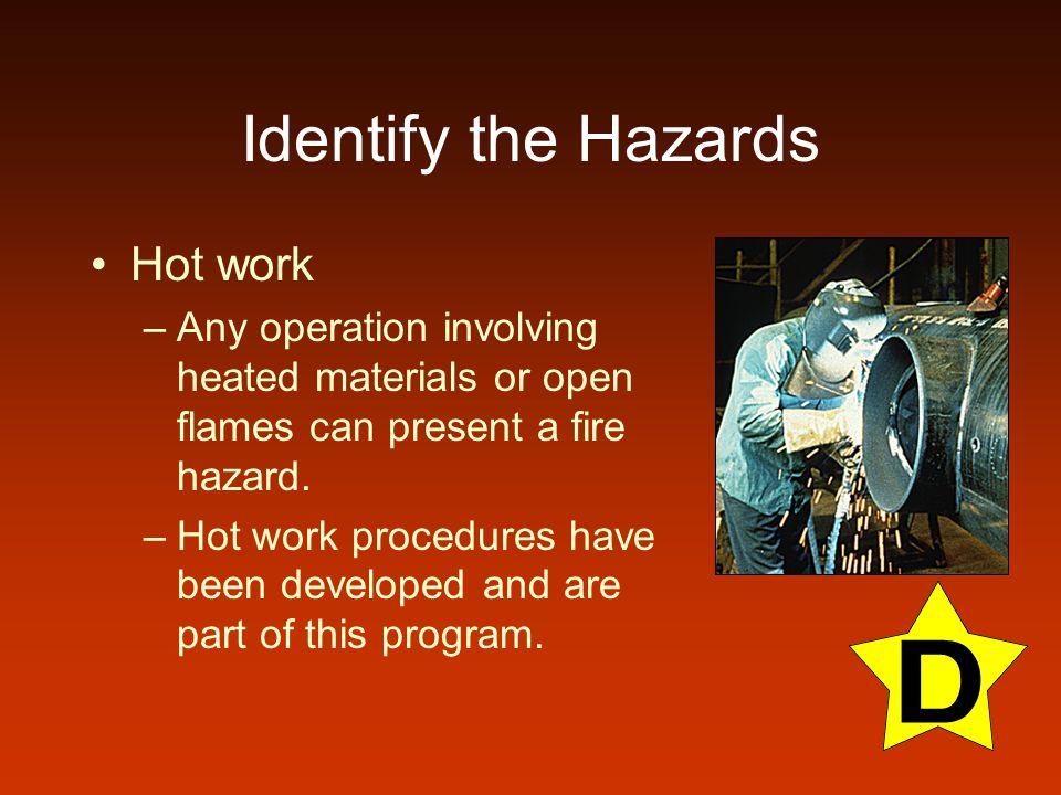 Identify the Hazards Hot work