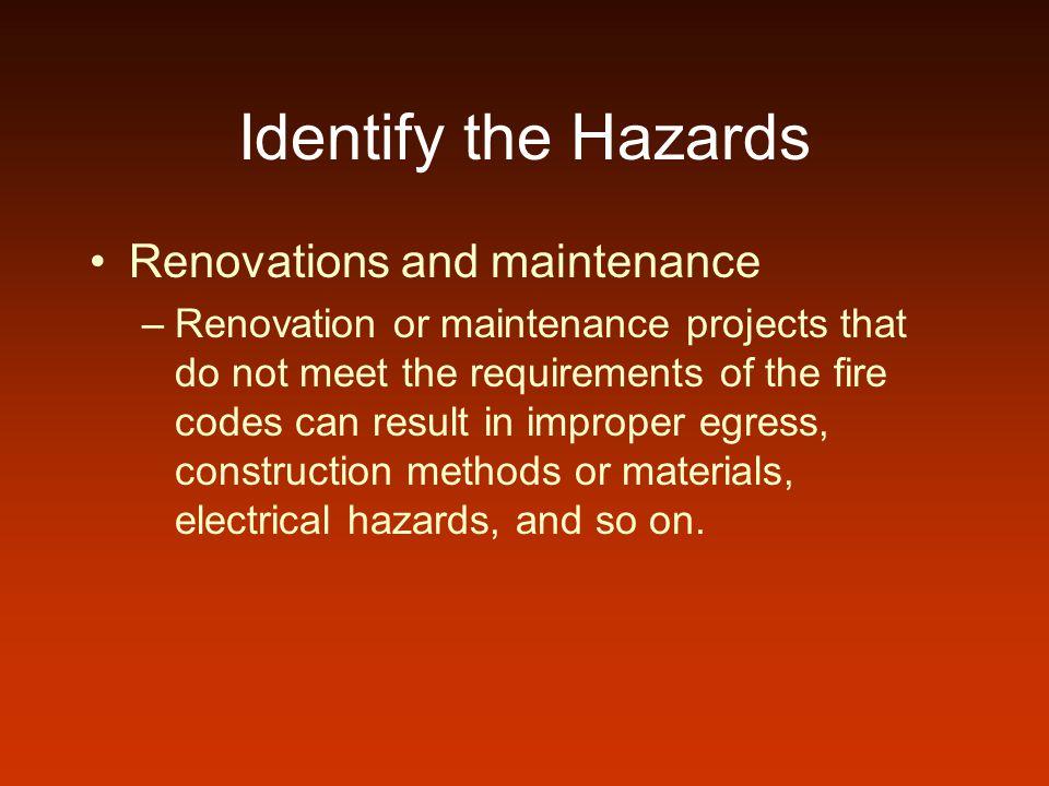 Identify the Hazards Renovations and maintenance