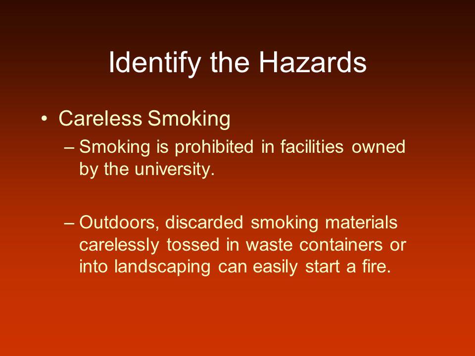 Identify the Hazards Careless Smoking