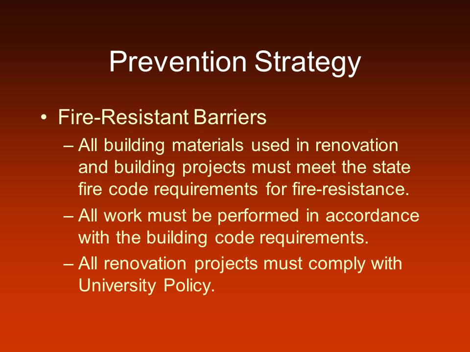 Prevention Strategy Fire-Resistant Barriers