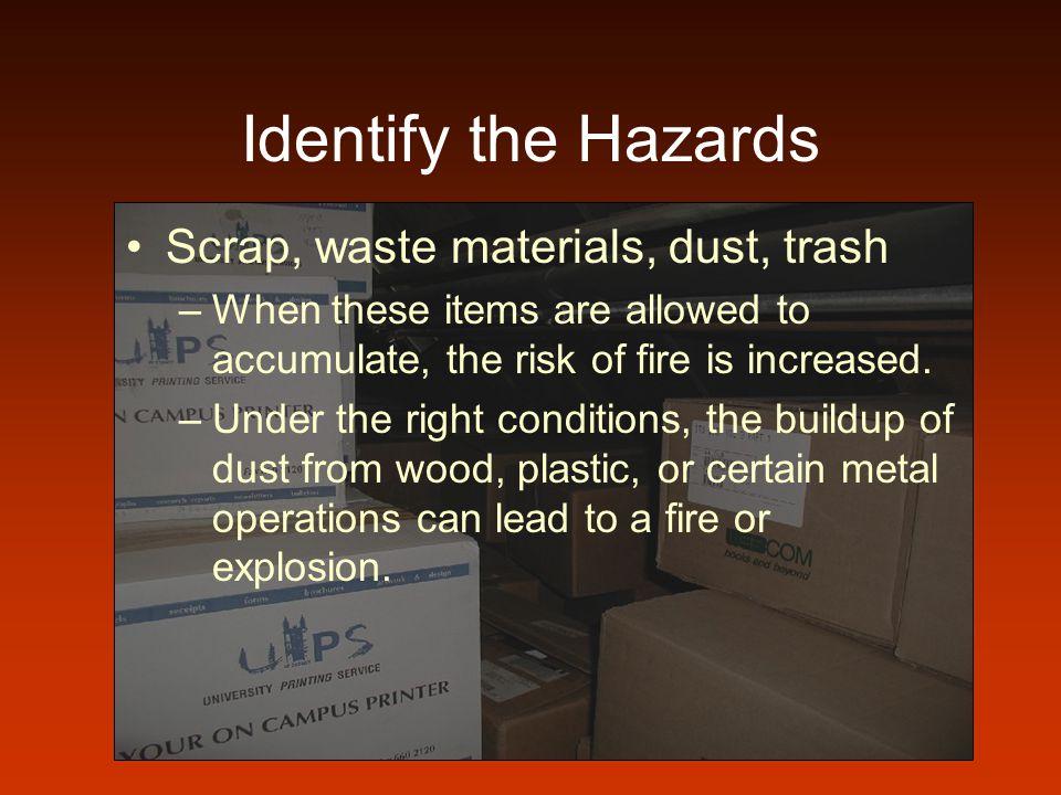 Identify the Hazards Scrap, waste materials, dust, trash