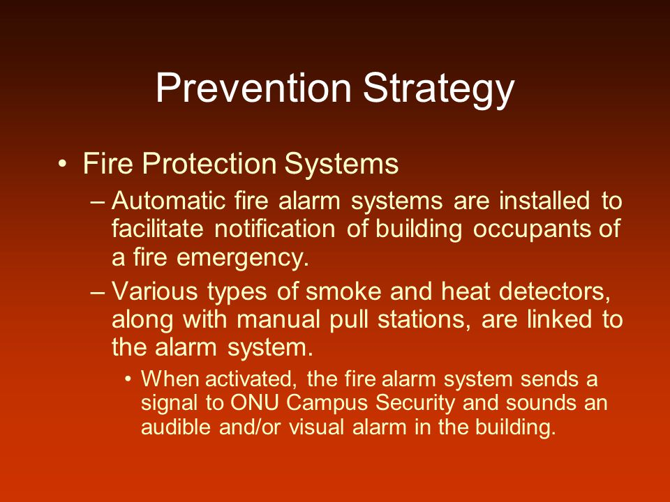 Prevention Strategy Fire Protection Systems