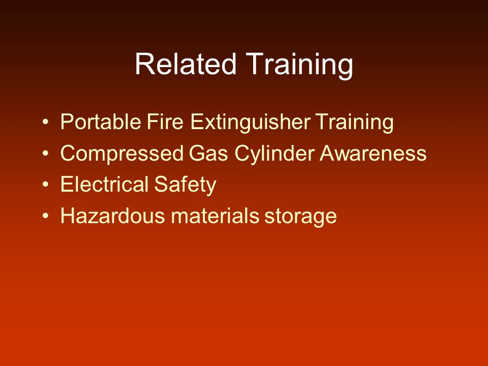 Related Training Portable Fire Extinguisher Training