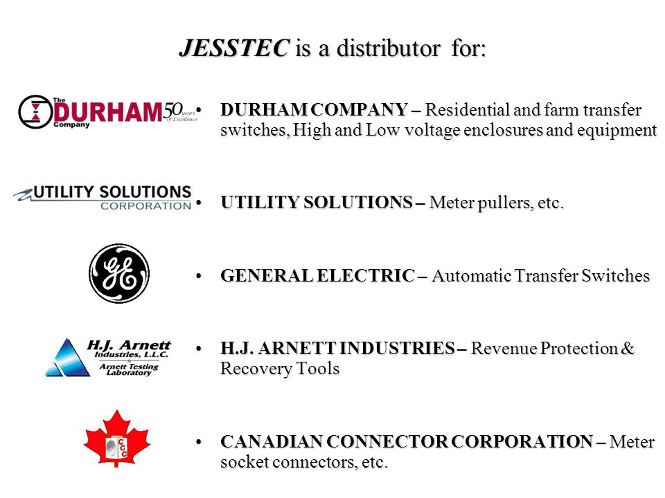 JESSTEC is a distributor for: