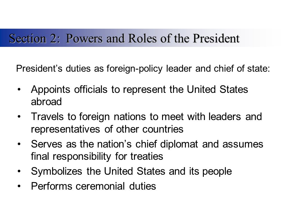 President's duties as foreign-policy leader and chief of state: