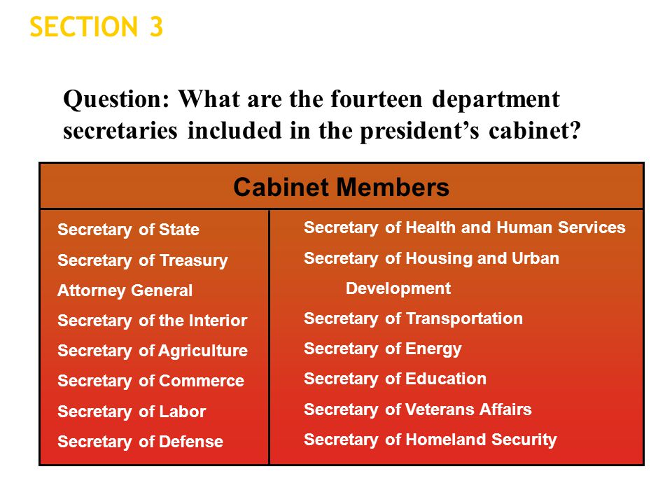 SECTION 3 Question: What are the fourteen department secretaries included in the president's cabinet