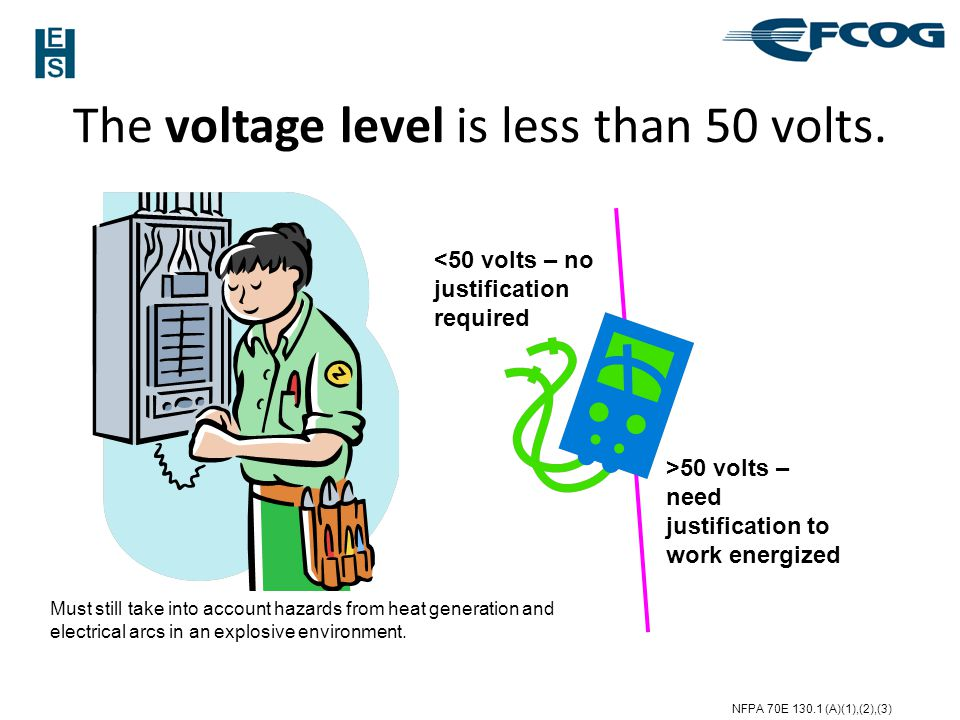 The voltage level is less than 50 volts.
