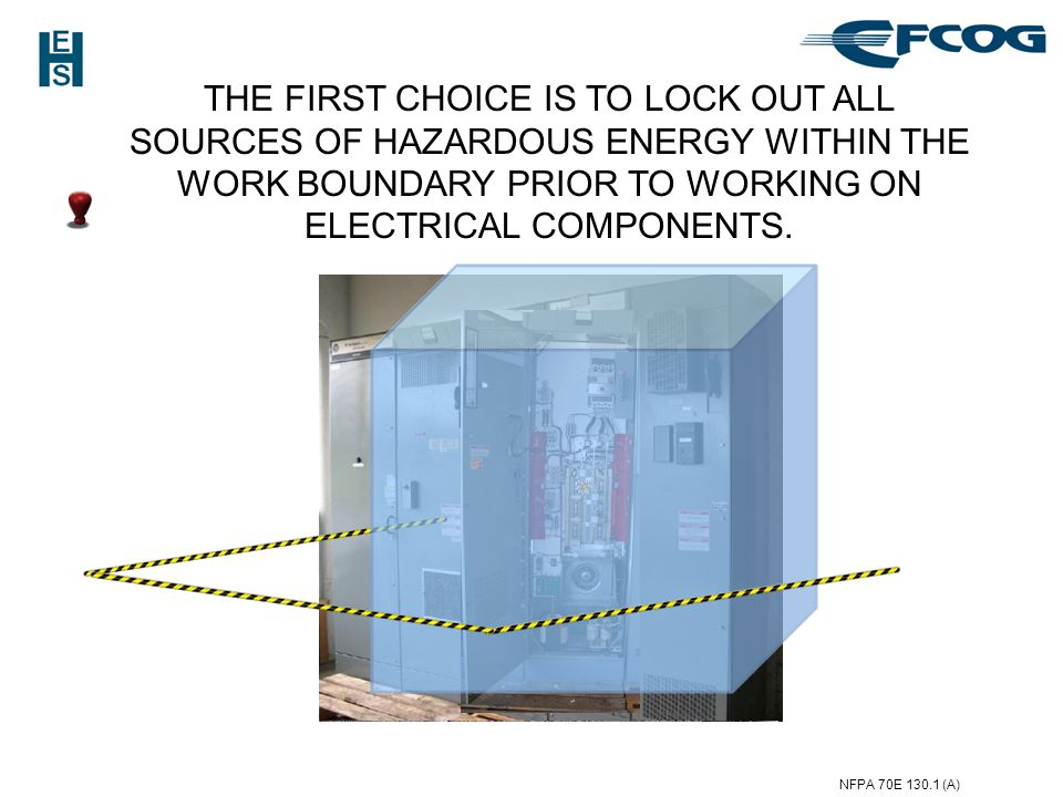 THE FIRST CHOICE IS TO LOCK OUT ALL SOURCES OF HAZARDOUS ENERGY WITHIN THE WORK BOUNDARY PRIOR TO WORKING ON ELECTRICAL COMPONENTS.