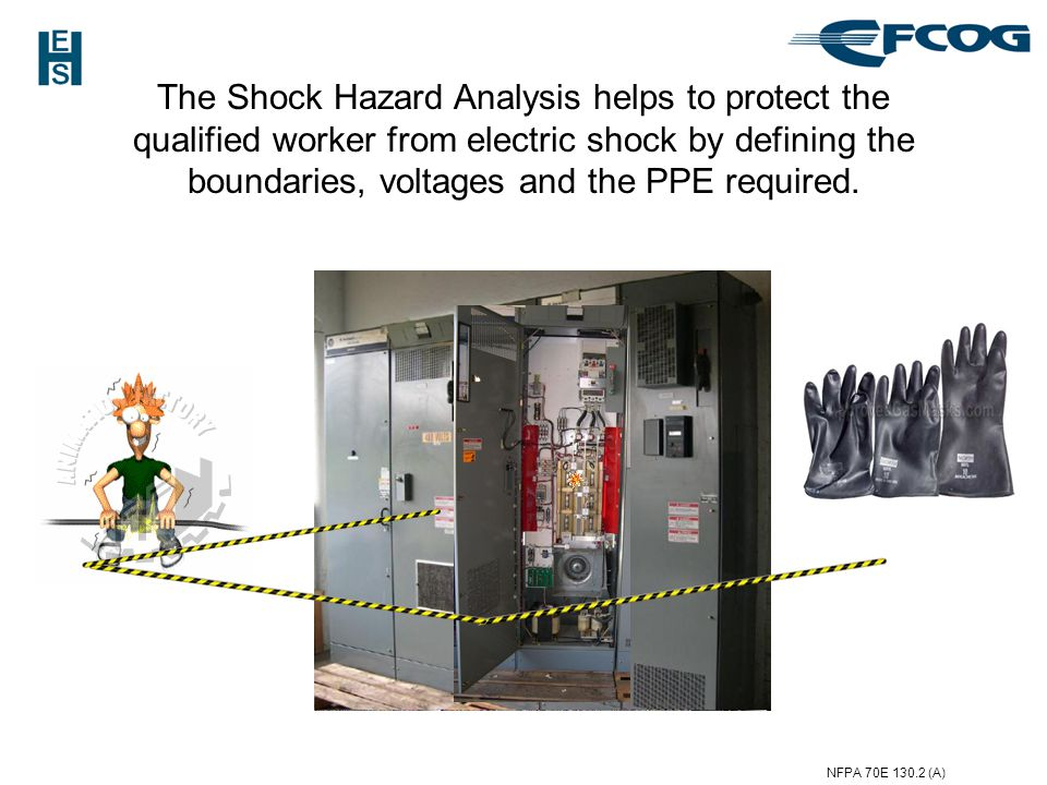 The Shock Hazard Analysis helps to protect the qualified worker from electric shock by defining the boundaries, voltages and the PPE required.