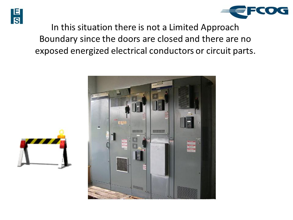 In this situation there is not a Limited Approach Boundary since the doors are closed and there are no exposed energized electrical conductors or circuit parts.