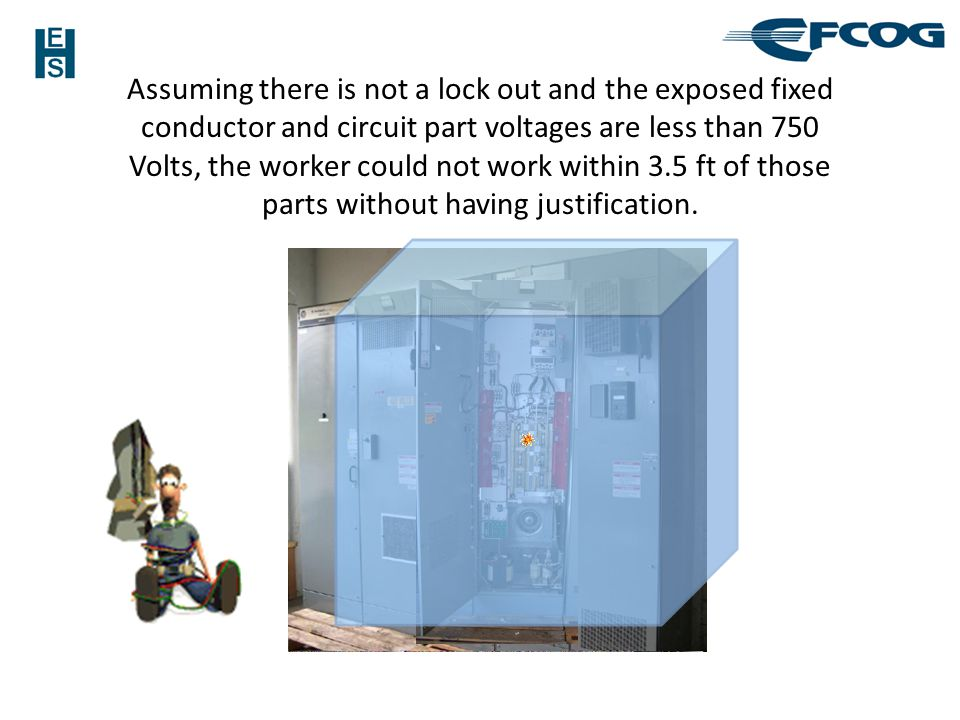Assuming there is not a lock out and the exposed fixed conductor and circuit part voltages are less than 750 Volts, the worker could not work within 3.5 ft of those parts without having justification.