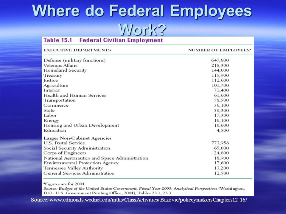 Where do Federal Employees Work