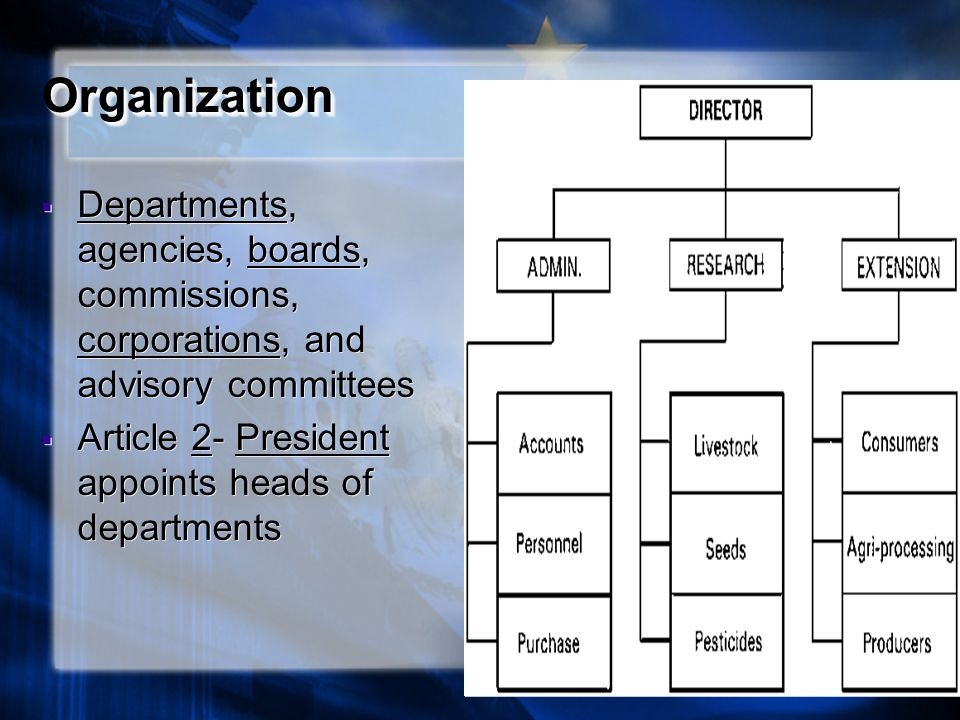 Organization Departments, agencies, boards, commissions, corporations, and advisory committees.
